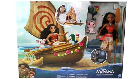 moana figures with boat disney moana starlight canoe friends unboxing toy review