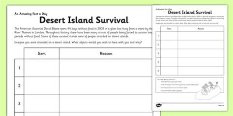 trapped on an island worksheet desert island survival activity sheet desert island survival
