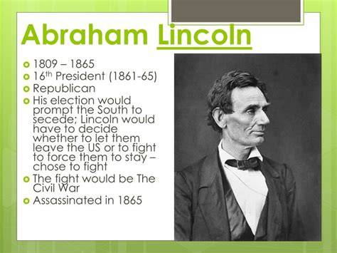 abraham lincoln biography presentation powerpoint ppt the path to the u s civil war powerpoint