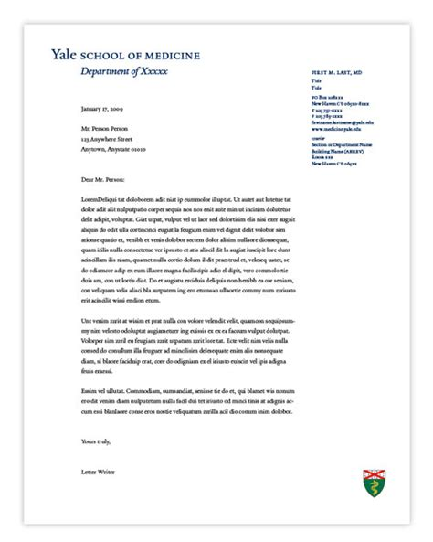 Official Letterhead Paper Letterhead Gt Office Of Communications Yale School Of Medicine