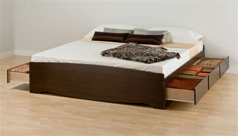 Bed Frames With Storage Drawers King Size Low Profile Bed Frame With Storage Drawers Decofurnish