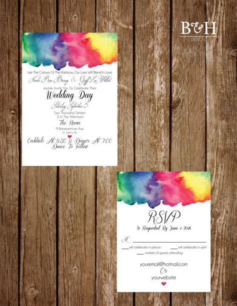 Colorful Wedding Invitations by Printable Custom Rainbow Watercolour Rainbow Watercolor