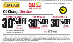 tires plus synthetic blend oil change coupon