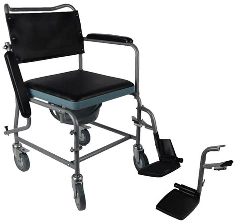 mobile steel commode chair bedside commode wheerchair