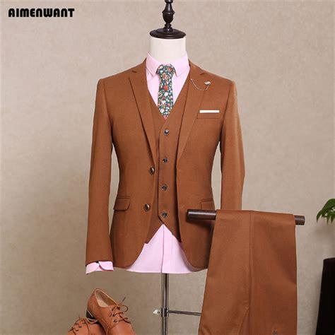 aimenwant 2017 brown mens suits gentleman fashion