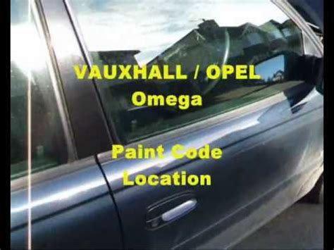 vauxhall opel omega vin plate paint code location