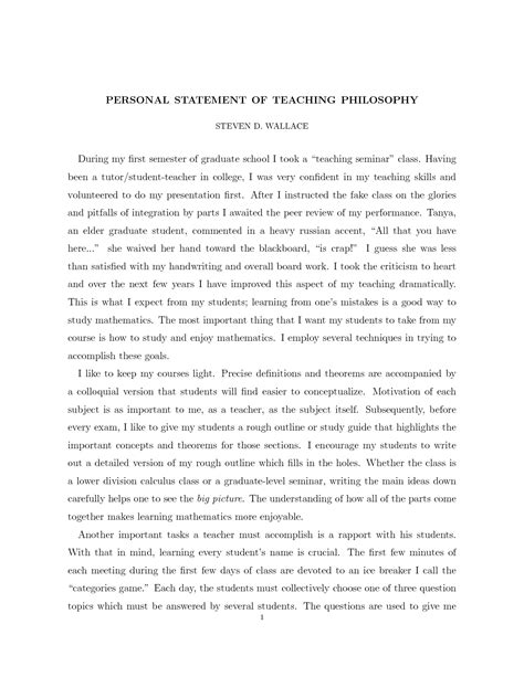 personal statement template for teaching best photos of personal mission statements exles