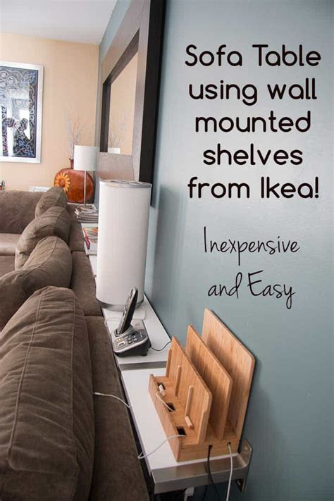 sofa table between sofa and wall building a sofa table using ikea ekby wall mounted shelves