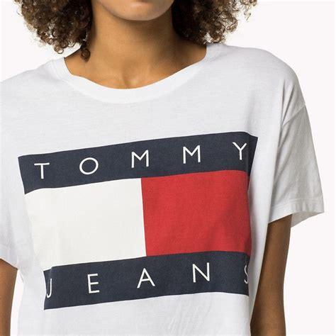Hilfiger Logo T Shirt by Hilfiger Cropped Logo T Shirt Classic White White