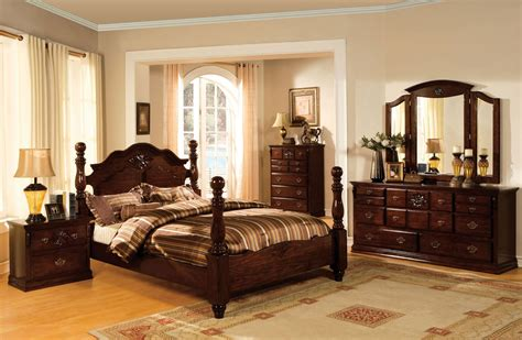 tuscan ii glossy dark pine poster bedroom set from