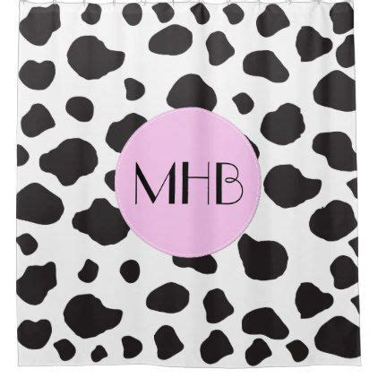 cow spots template monogram animal print cow spots black pink shower curtain