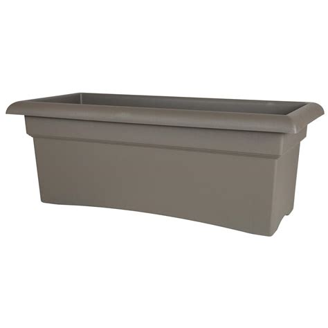 Bloem Veranda 26 In Peppercorn Plastic Deck Box Planter Plastic Planter Boxes
