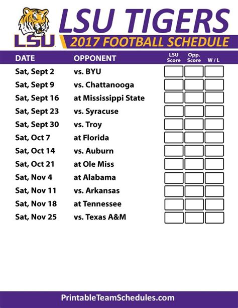 printable tigers schedule 15 best images about sec football college team schedules