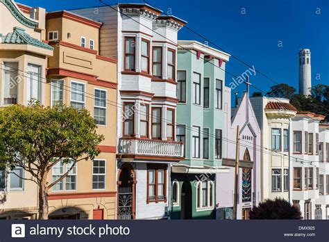 buy house in russia typical victorian style colorful houses in russian hill neighborhood stock photo