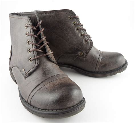 boys leather boots boys brown leather look army fashion combat boots