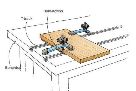 bench press accessory work t track is a smart workbench accessory finewoodworking