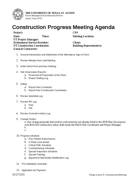 construction meeting minutes template construction meeting agenda template 7 best agenda