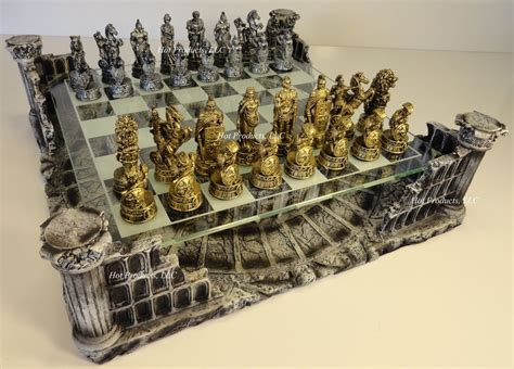 Bor Set metal pewter gladiator times chess set glass board ebay