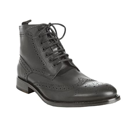 kenneth cole black leather think lace up wingtip