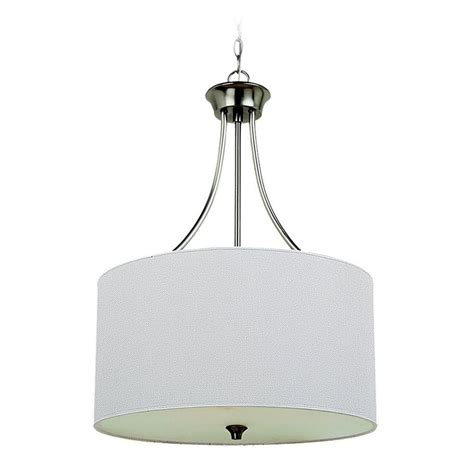 White Drum Pendant Light Drum Pendant Light With White Shade In Brushed Nickel Finish 65953 962 Destination Lighting