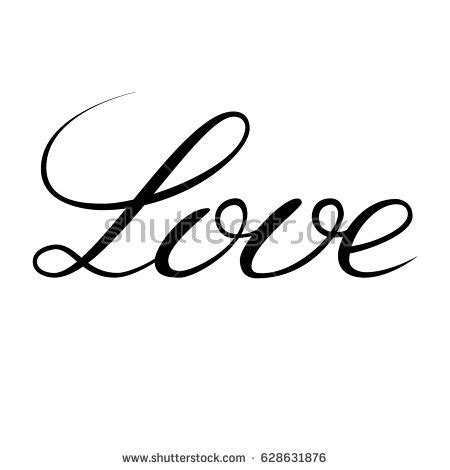 Images Of Love Written | word love written by hand pen stock vector 628631876