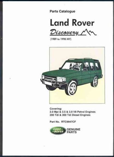 book repair manual 1989 land rover range rover navigation system land rover discovery 1989 1998 parts catalogue brooklands books ltd uk sagin workshop car