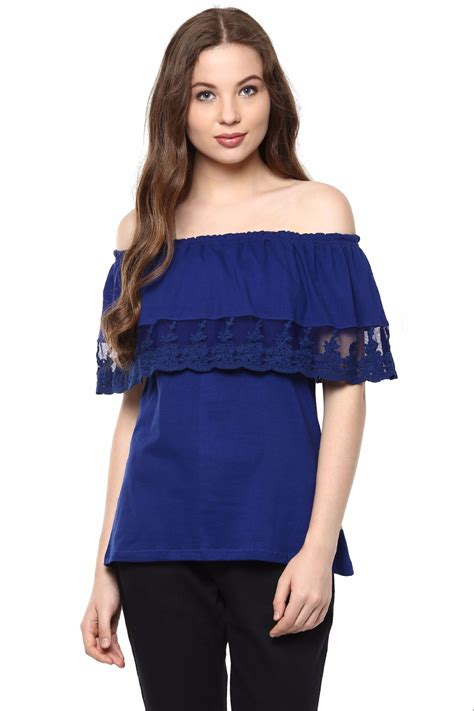 Blue Top royal blue shoulder top for the vanca