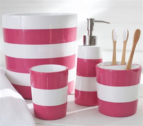 pink stripe bath accessories pottery barn kids