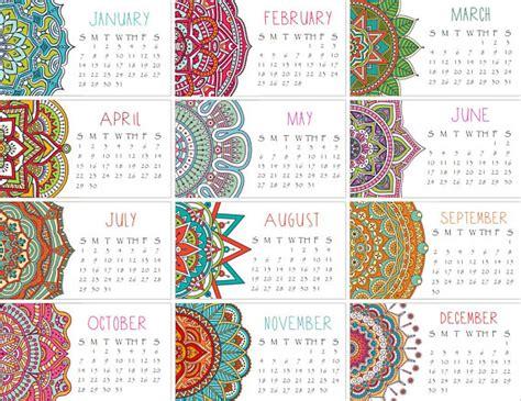 Calendario De Colombia A O 2018 Calendario 2018 Conjunto De Dos Mandala Mini Calendario