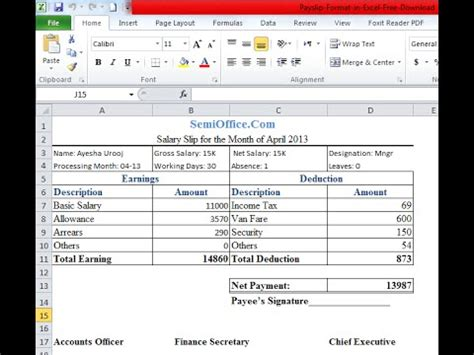 payslip format  excel sheet youtube