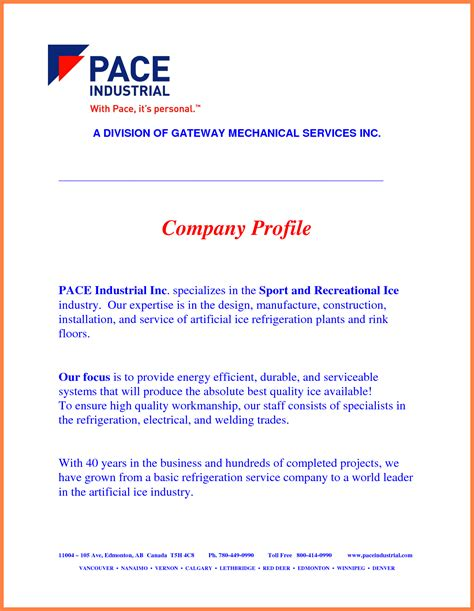 template for a company profile 9 company business profile sle company letterhead