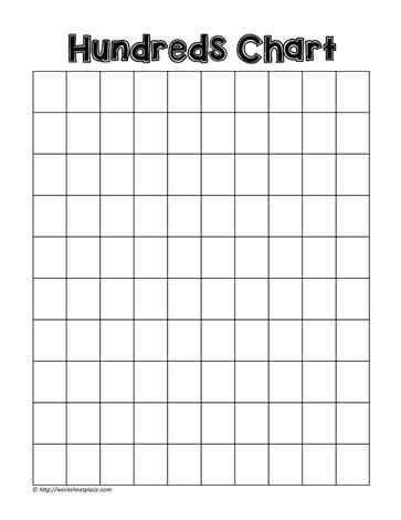 free printable empty hundreds chart 100 chart blank worksheets