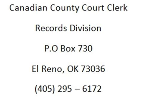 How To Remove Court Records From The Canadian Country Court Clerk Mail Address Oscn Net Oklahoma Court Records