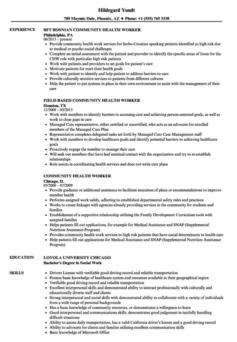 community health worker resume sles velvet