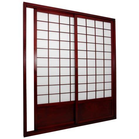 Cherry Wood Sliding Door With Japanese Style Glass Door Wood Panel Sliding Closet Doors