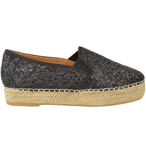 platform flats shoes womens platform glitter slip on espadrilles flat