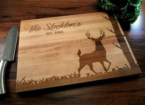 items similar to personalized cutting board hunting deer