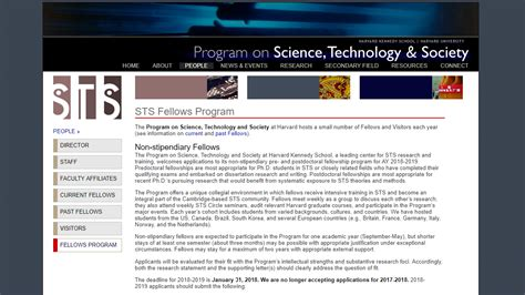 St S Mba Application Deadline by Harvard S Program On Science Technology And