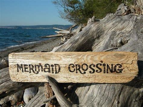 quot mermaid quot custom wooden sign coastal home decor beach mermaid crossing sign driftwood painted coastal beach