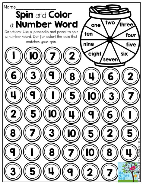 spin color spin and color a number word printables to help