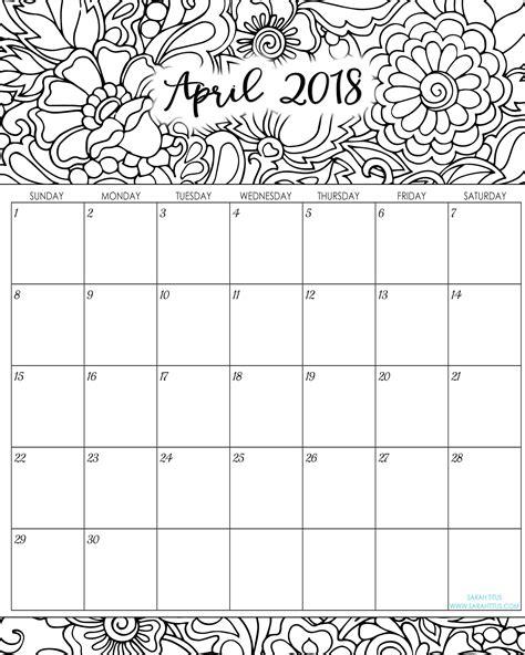 april 2018 calendar printable page 2018 monthly coloring calendars printables titus