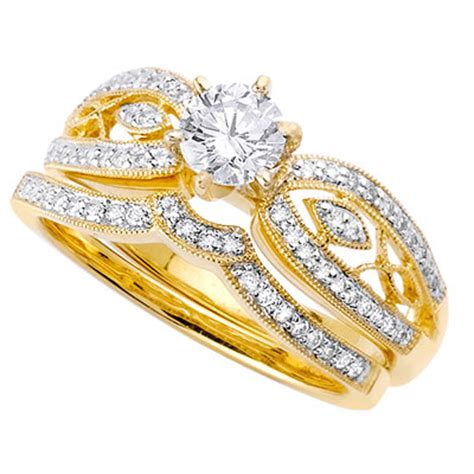 yellow gold wedding rings with diamondscherry