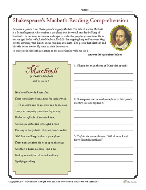 macbeth themes activity shakespeare s macbeth reading comprehension worksheet