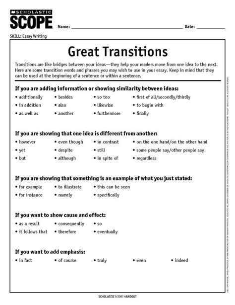 Transition Words To Use In An Essay by Using Transition Words In Essays