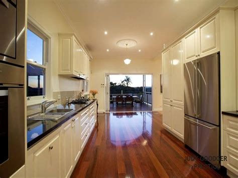 modern galley kitchen design modern galley kitchen design using floorboards kitchen