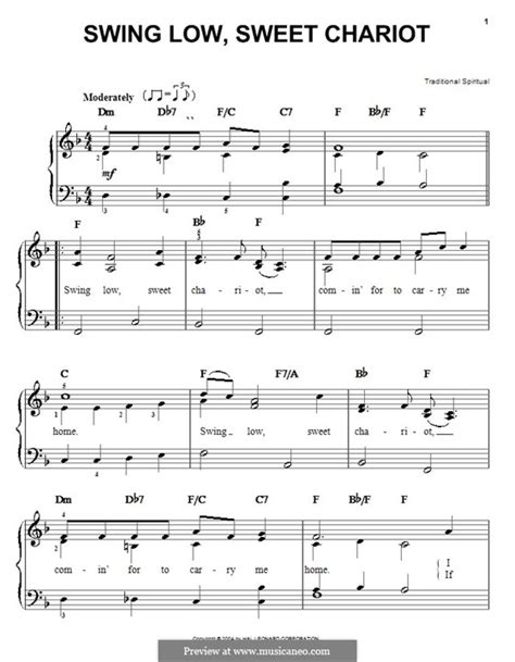 lyrics of swing low sweet chariot 47 swing low sweet chariot piano sheet music auld