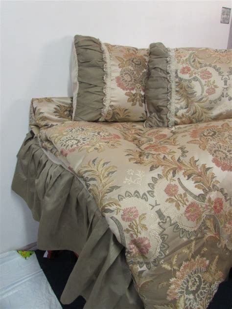 comforter and bedskirt lot detail elegant shimmery queen size comforter with