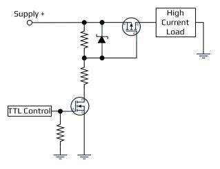 mosfet transistor high current driving loads with high power acroname