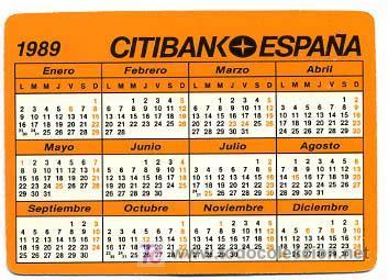 Calendario De 1989 Calendario Citibank Espa 241 A 1989 Cal1112 Comprar