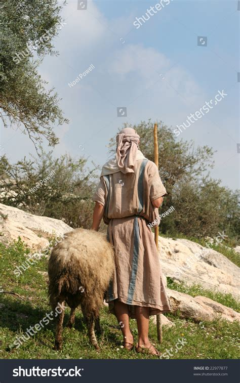 shepherd  traditional dress leads  ram  galilee